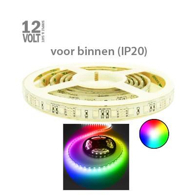 RGB (alle kleuren) LED strip sterk IP20 binnen