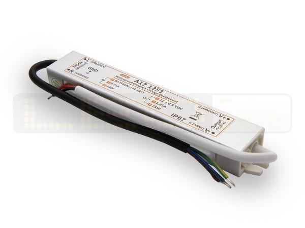 LED trafo 15 watt 12 VDC 1,25A IP67