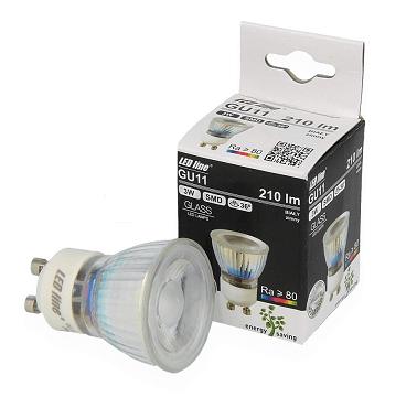 GU11 LED spot glas 3 watt daglicht wit 6500K