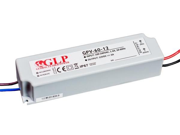 GLP LED trafo 60 watt 12 VDC 5A IP67