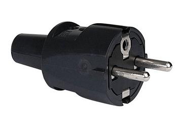 Geaarde stekker zwart IP20 230V 16A