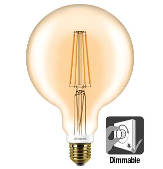Philips G120 LED globe retro 7 watt flame 2000K dimbaar