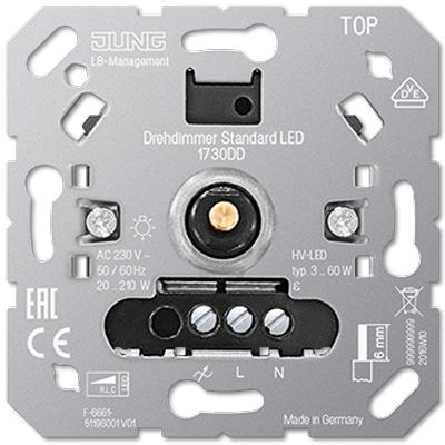 Jung LB inbouw LED draaidimmer 3 - 60 watt 1730DD