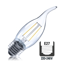 Integral LED filament kaarslamp 2W 2700K extra warm wit E27 flame tip