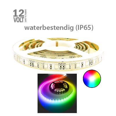 RGB (alle kleuren) LED strip sterk IP65 buiten