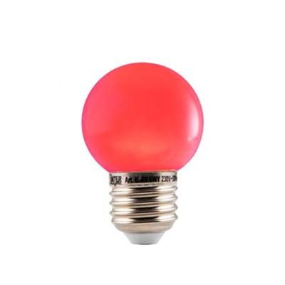 LED Kleuren Kogellamp Rood Grote Fitting 1W