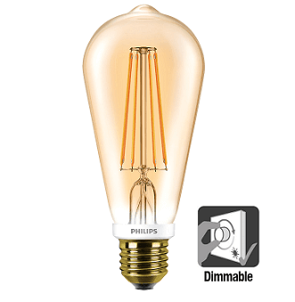 Philips ST64 LED lamp retro 7 watt flame 2000K dimbaar
