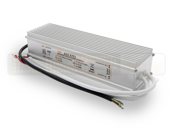 LED trafo 80 watt 12VDC 6,7A IP67
