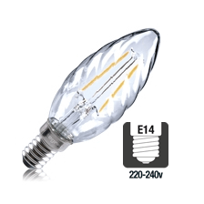Integral LED filament kaarslamp 2W 2700K extra warm wit E14 twisted