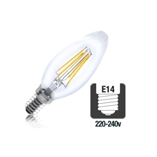 Integral LED filament kaarslamp 4W 2700K extra warm wit E14
