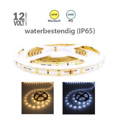 LED strip (subtiel) in warm wit of daglicht wit IP65 buiten