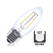 Integral LED filament kaarslamp 2W 2700K extra warm wit E27