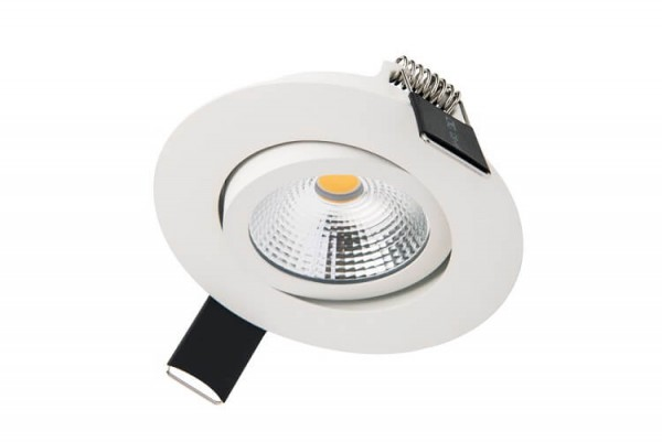 Integral LED kantelbare inbouw spot 6,5 watt 3000K warm wit dimbaar mat wit