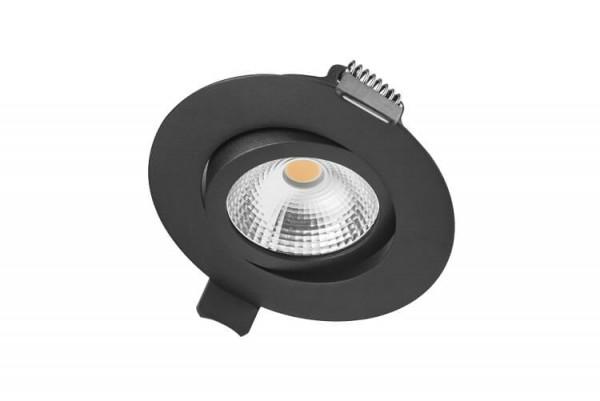 Integral LED kantelbare inbouw spot 6,5 watt 3000K warm wit dimbaar mat zwart