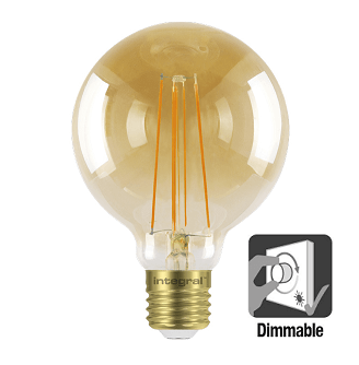 Integral G95 LED Globe retro 5 watt flame 1800K dimbaar