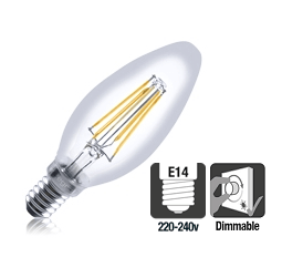 Integral LED filament kaarslamp 3,5W 2700K extra warm wit E14 Dimbaar