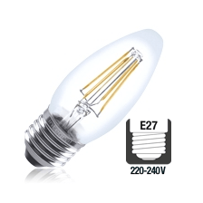 Integral LED filament kaarslamp 4W 2700K extra warm wit E27