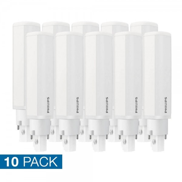 10x Philips PLC LED 6,5 watt neutraal wit 2 pins 840 G24D-2