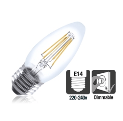 Integral LED filament kaarslamp 4,5W 2700K extra warm wit E27 Dimbaar