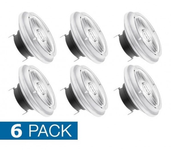 6x Philips AR111 LED spot 20 watt extra warm wit G53 dimbaar 24 graden lichthoek