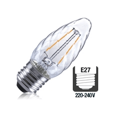 Integral LED filament kaarslamp 2W 2700K extra warm wit E27 twisted
