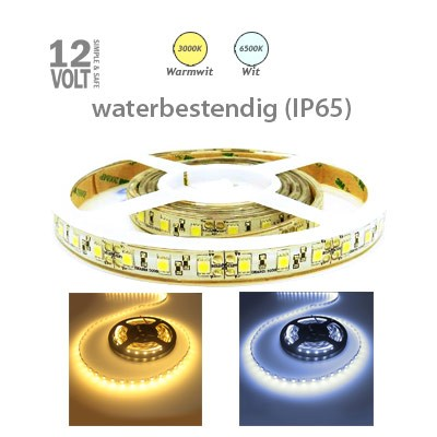 LED strip (sterk) in warm wit of daglicht wit buiten IP65
