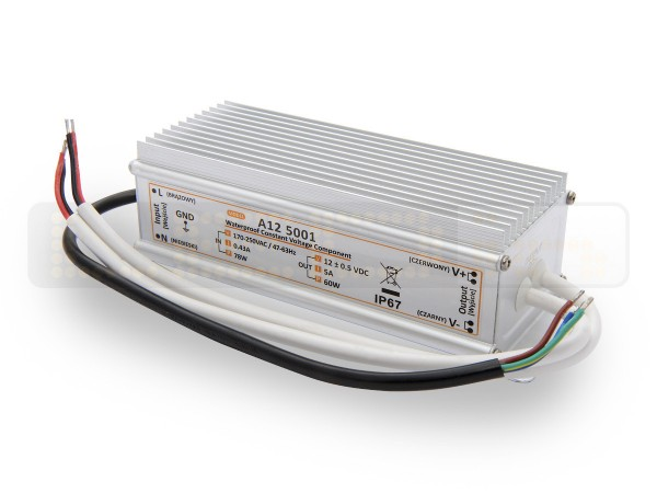 LED trafo 60 watt 12VDC 5A IP67