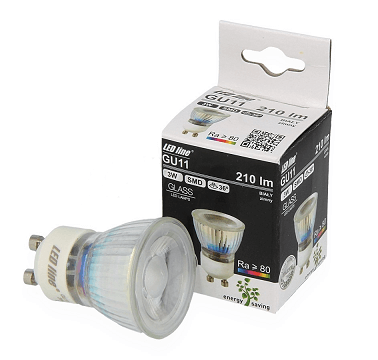 GU11 LED spot glas 3 watt extra warm wit 2700K