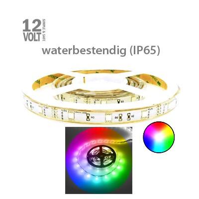 RGB (alle kleuren) LED strip normale sterkte IP65 buiten