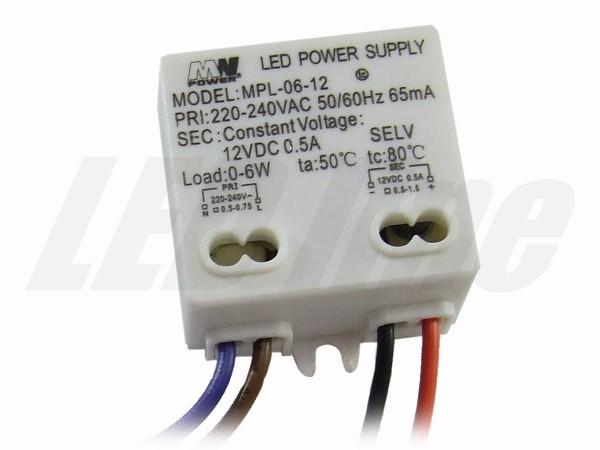 LED trafo 6 watt 12 VDC 0,5A IP20