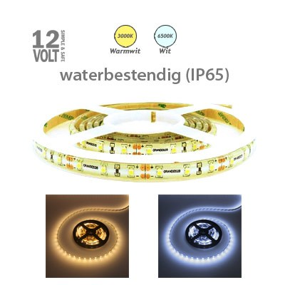 LED strip (normaal) in warm wit of daglicht wit IP65 buiten